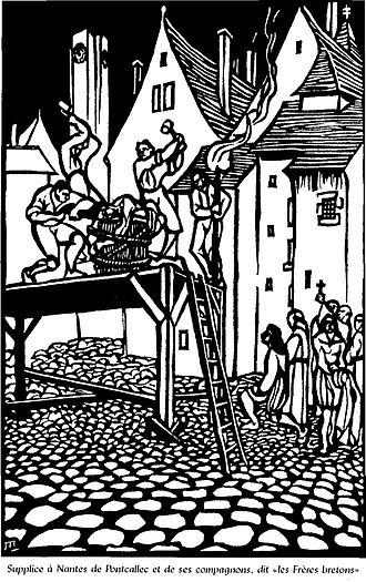 Pontcallec conspiracy - Supplice à Nantes de Pontcallec et ses compagnons (Torment of Pontcallec and his Companions at Nantes) by Jeanne Malivel, from Historie de Notre Bretagne (1922).