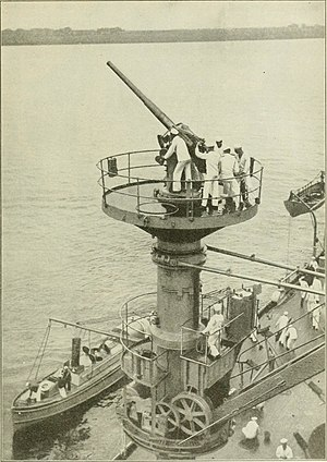 "New York-class battleship - 3""/50 caliber antiaircraft gun on platform atop a boat crane on Texas, installed in 1916 and said to be the first AA gun installation on a US battleship."