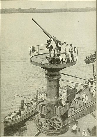 "USS Texas (BB-35) - 3""/50 caliber antiaircraft gun on platform atop a boat crane on Texas, installed in 1916 and said to be the first AA gun installation on a US battleship."