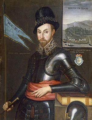 Siege of Bergen op Zoom (1588) - Peregrine Bertie, with siege of Bergen behind him