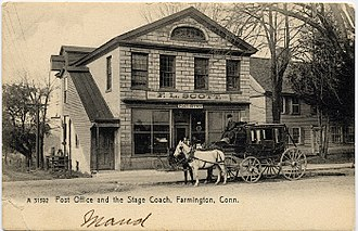 Post office and stage coach, 1907 postcard PostcardPO&StageCoachFarmingtonCT1906.jpg