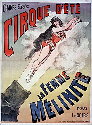 """Cirque d'Été - Poster for """"La femme Mélinite"""" (1887)"""