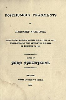 <i>Posthumous Fragments of Margaret Nicholson</i> book