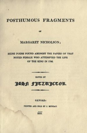 Posthumous Fragments of Margaret Nicholson - 1810 first edition title page, J. Munday, Oxford.