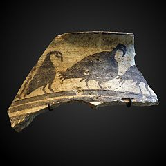 potsherd ornated with bustards