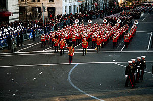 United States Marine Band - The Marine Band marching down 15th Street during an inaugural parade held in honor of President Bill Clinton on January 20, 1997.