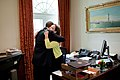 President Barack Obama bids farewell to Katie Johnson on her last day at the White House, June 10, 2011.jpg
