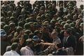 President Lyndon B. Johnson in Vietnam, Handshakes in a crowd of troops - NARA - 192513.tif
