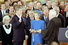President Ronald Reagan Being Sworn in for a Second Term by Chief Justice Warren Burger as Nancy Reagan Observes in the United States Capitol Rotunda.jpg