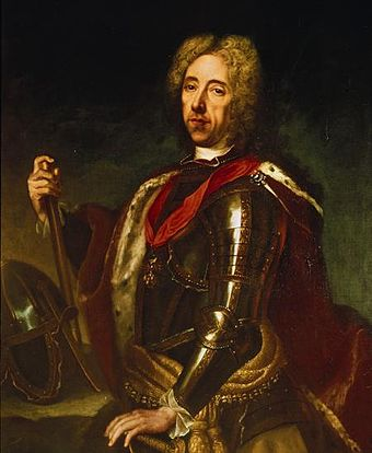 Portrait of Prince Eugene of Savoy by Jan Kupecky. Shown here in late middle age. Prince Eugene of Savoy - Kupetzky.jpg