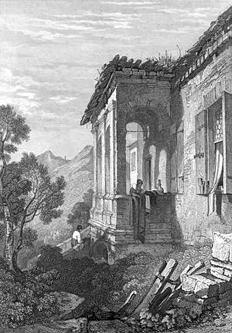 Influence of Italian humanism on Chaucer - Petrarch's Arquà house near Padua in 1831 (artist's depiction with a tourist).