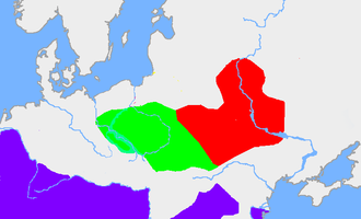Zarubintsy culture - Zarubintsy culture (red) and Przeworsk culture (green)