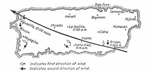 1899 San Ciriaco hurricane - The storm's path across Puerto Rico