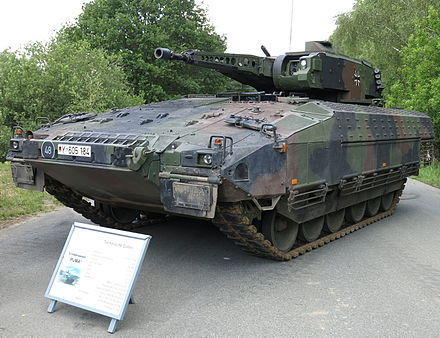 The German Puma is one of the best protected infantry fighting vehicles and is supposed to deliver troops to the front Puma, first series.jpg