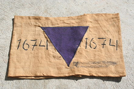 Jehovah's Witness prisoners were identified by purple triangle badges in Nazi concentration camps. Purple Triangle.JPG