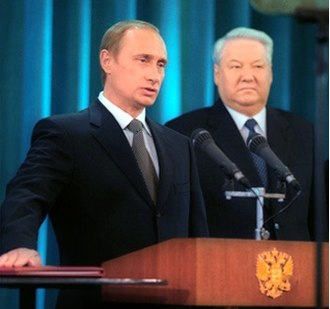 Putin taking the presidential oath beside Boris Yeltsin, May 2000 Putin and Yeltsin cropped.jpg
