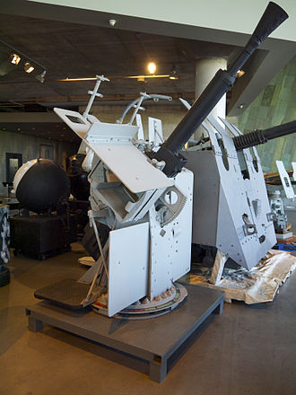 Flower-class corvette - QF2 Mk. VIII pom-pom gun, from HMCS Kamloops, on display in the Lebreton Gallery of the Canadian War Museum