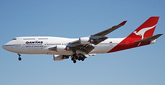 The 747-400ER was derived from the 747-400X study. Qantas Boeing 747-438ER VH-OEI at LAX.jpg