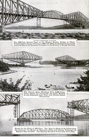 Quebec Bridge - Lifting the centre span in place was considered to be a major engineering achievement. Photo caption from Popular Mechanics magazine, December 1917
