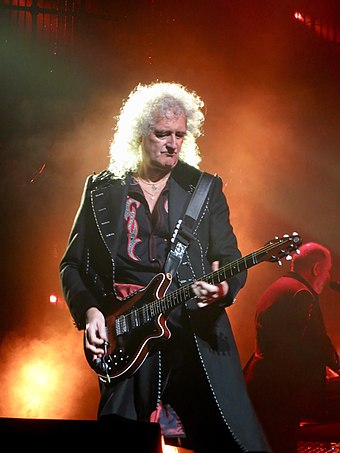 Brian May (pictured in 2017) playing his custom-made Red Special Queen + Adam Lambert 5 (38119549814).jpg