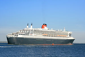 RMS Queen Mary 2 - Image: Queen Mary 2 outbound from Southampton 2 Sept 2013