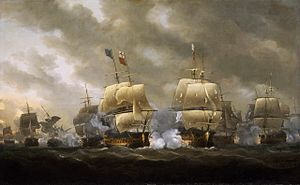 Richard Howe, 1st Earl Howe - The Battle of Quiberon Bay by Nicholas Pocock. Howe took part in the battle as a captain. The overwhelming British victory at Quiberon Bay ended the prospect of a French Invasion of Britain or Ireland.