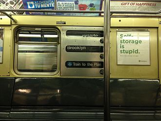 Unused New York City Subway service labels - An R32 rollsign erroneously displaying the JFK Express logo. This service was used from September 1978 to April 1990 for limited super-express service to JFK Airport