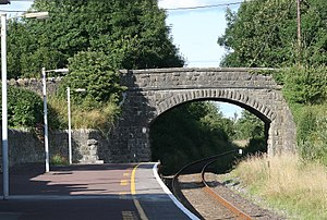 Cloughjordan railway station - Limerick-Ballybrophy line passing under the R490 road at Cloughjordan station