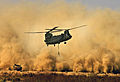 RAF Chinook creates a huge dust cloud during a resupply to 42 Commando in Afghanistan MOD 45147582.jpg