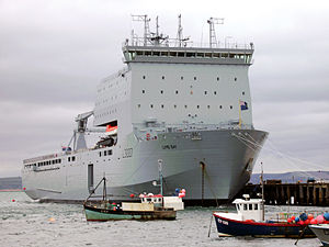 RFA Lyme Bay berthed at Portland, August 2007