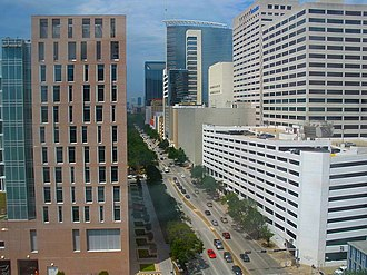 Texas Medical Center - Main Street within the Texas Medical Center, viewed from the Baylor College of Medicine (view towards Houston Downtown)