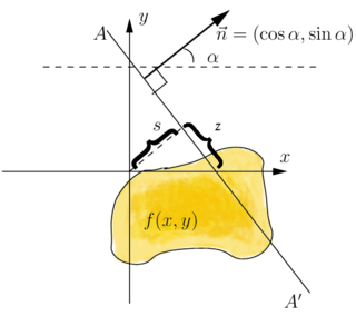Radon transform integral transform which takes a function f defined on the plane to a function Rf defined on the (two-dimensional) space of lines in the plane, whose value at a particular line is equal to the line integral of the function over that line