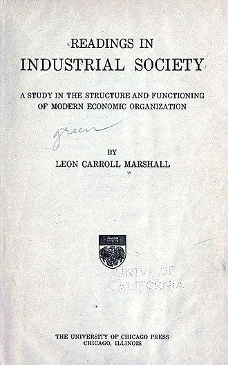 Leon C. Marshall - Title page, 1918/20.