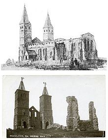 Reculver church in 1800 and in the early 1900s