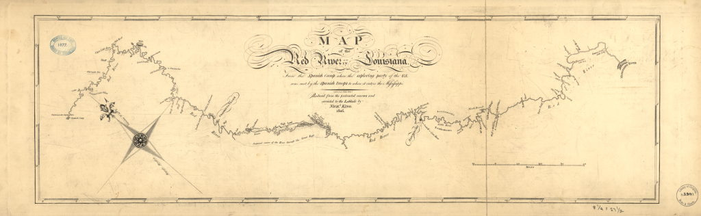 Map of the 1806 Red River Expedition's route. Published by Nich. King, 1806.