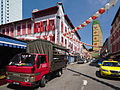 Red lorry delivering durians in Temple Street, Chinatown (15229998761).jpg