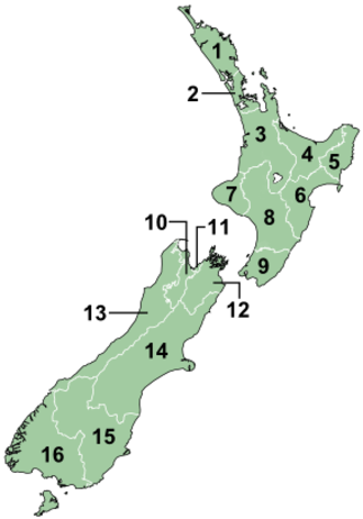 Radio in New Zealand - Image: Regions of NZ Numbered