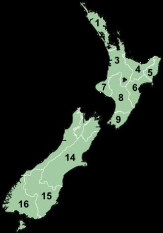 Bartercard Premiership - Image: Regions of NZ Numbered