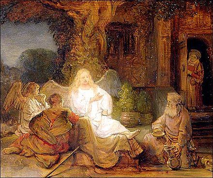 Abraham with the Three Angels by Rembrandt Rembrandt Abraham Serving the Three Angels.jpg