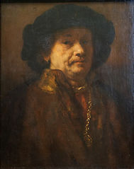 Self portrait in a fur coat with gold chain and earring