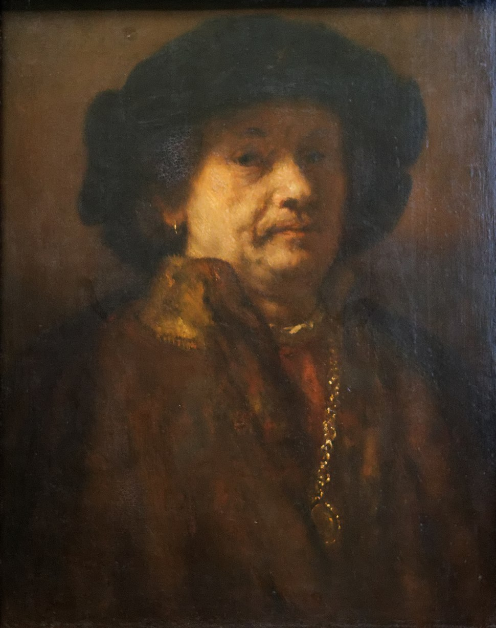 Rembrandt Self portrait in a fur coat with gold chain and earring