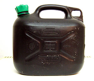 Gasoline - A plastic container for storing gasoline used in Germany