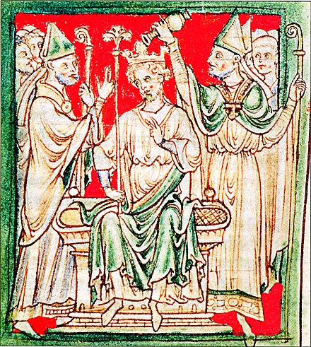 Richard I of England being anointed during his coronation in Westminster Abbey, from a 13th-century chronicle. Richard Löwenhez, Salbung zum König.jpg