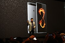 Richard Yu, CEO, Huawei Cunsumer Business Group, with the new P8 smartphone (16955619387).jpg