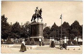 The Freedom Monument replaced a statue of the Russian Emperor Peter the Great