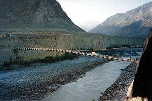 Danyor Suspension Bridge - Image: Road bridge over a river in Gilgit