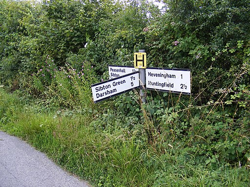 Roadsign on Heveningham Long Lane - geograph.org.uk - 1406528