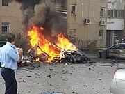 Rocket hitting car Beer Sheva 2012 06