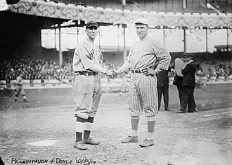 Roger Peckinpaugh - Peckinpaugh (left) with Larry Doyle (right) of the New York Giants