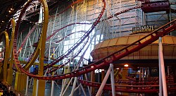 Mindbender rollercoaster and decommissioned UFO maze
